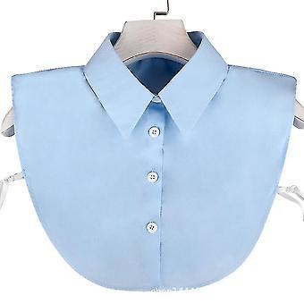 fake krage full bomull avtakbar bluse profesjonell halv skjorter blå