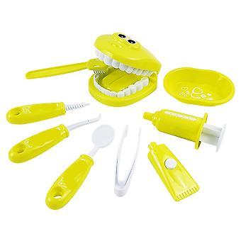 Lapset teeskentelevät leikkivän hammaslääkäri tarkistaa hampaat malli asetettu