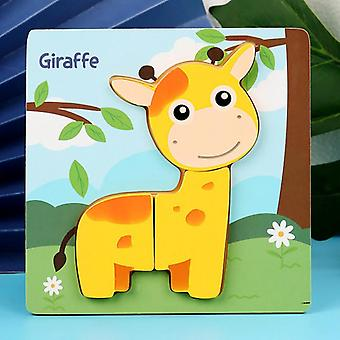 Wooden Animal Jigsaw Puzzle For Toddlers 1 2 3 Years Boys Girls Educational Toy - Multicolor
