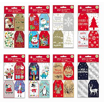 Pack 20 Co-Ordinating Christmas Gift Tags Traditional Cute Funny Xmas Present