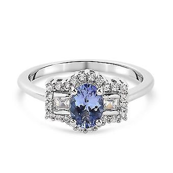 TJC Tanzanite, White Zircon Boat Ring Silver Gift for Wife/Girlfriend 3.09ct(Q)