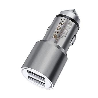 (Grey) Dual Port USB Car Charger With LED Indicator 3.1A For ZTE Nubia My Prague