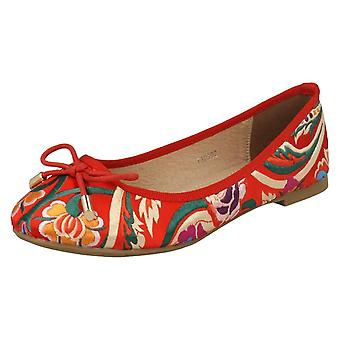 Ladies Spot On Flat Embroidered Ballerinas F80292