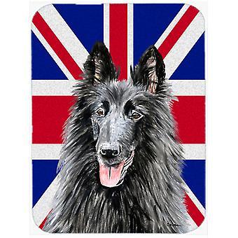 Belgian Sheepdog with English Union Jack British Flag Glass Cutting Board Large