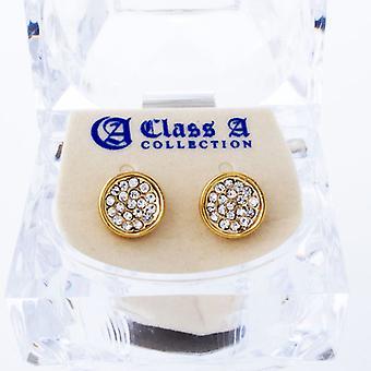 Guld bling Ice ud øreringe - rund 10 mm
