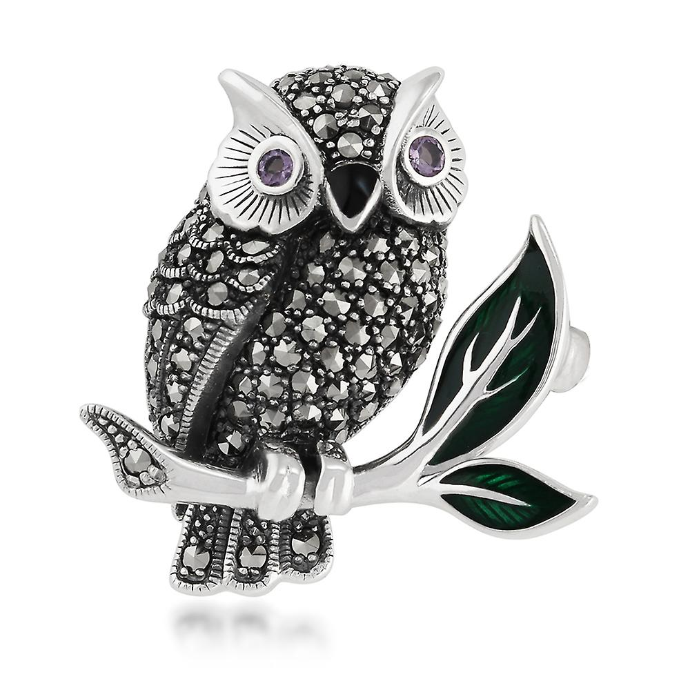 925 Sterling Silver Marcasite, Amethyst & Enamel Owl Brooch