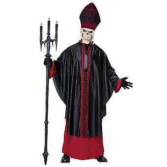 Black Mass Zombie Religious Priest Pope Skull Horror Halloween Mens Costume
