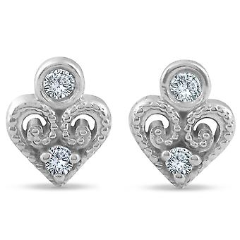 Vintage Diamond Heart stadniny Petite 14k białe złoto