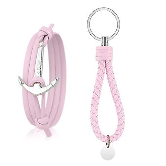 Skipper set leather anchor bracelet bracelet with key chain pink 7177