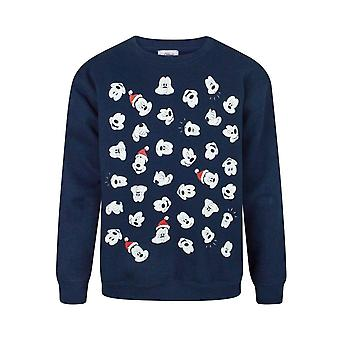 Disney Childrens Boys Mickey Mouse Faces Christmas Sweatshirt