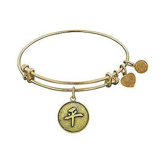 "Stipple Finish Brass Chinese Peace Angelica Bangle Bracelet, 7.25"""