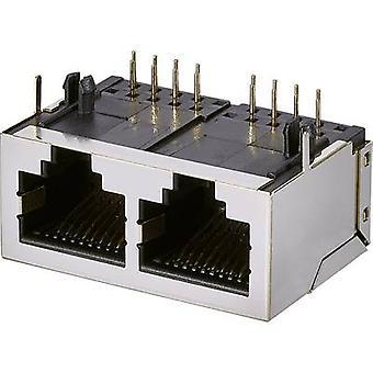 Modulair gemonteerd socket 2, CAT 5 Socket, horizontale mount poortnummer van pins: 8P8C A00-216-262-450 metalen EDAC A00-216-262-450 1 PC('s)