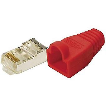 LogiLink MP0016 Plug CAT 5E beschermen gele 8P8C RJ45 stekker, rechte rood