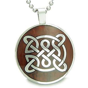 Leben Schutz keltischer Schild Knot Amulett magische Holz treibt Amulett Kreis Anhänger Halskette
