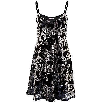 Panie bez rękawów Strappy cekinów Paisley pokryte Skater refleksy damskie Party Dress