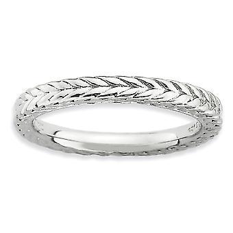 2,5mm 925 Sterling hopea kiillotettu kuviollinen pinottavat ilmeet rhodium päällystetty kullattu rengas korut lahjat naisille - R