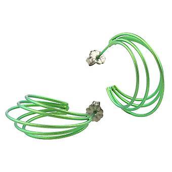 Ti2 Titanium Large Wire Hoop Earrings - Fresh Green