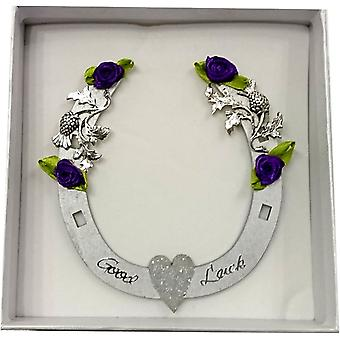 Good Luck Horseshoe Silver Glitter Heart by Sweet Pea Designs