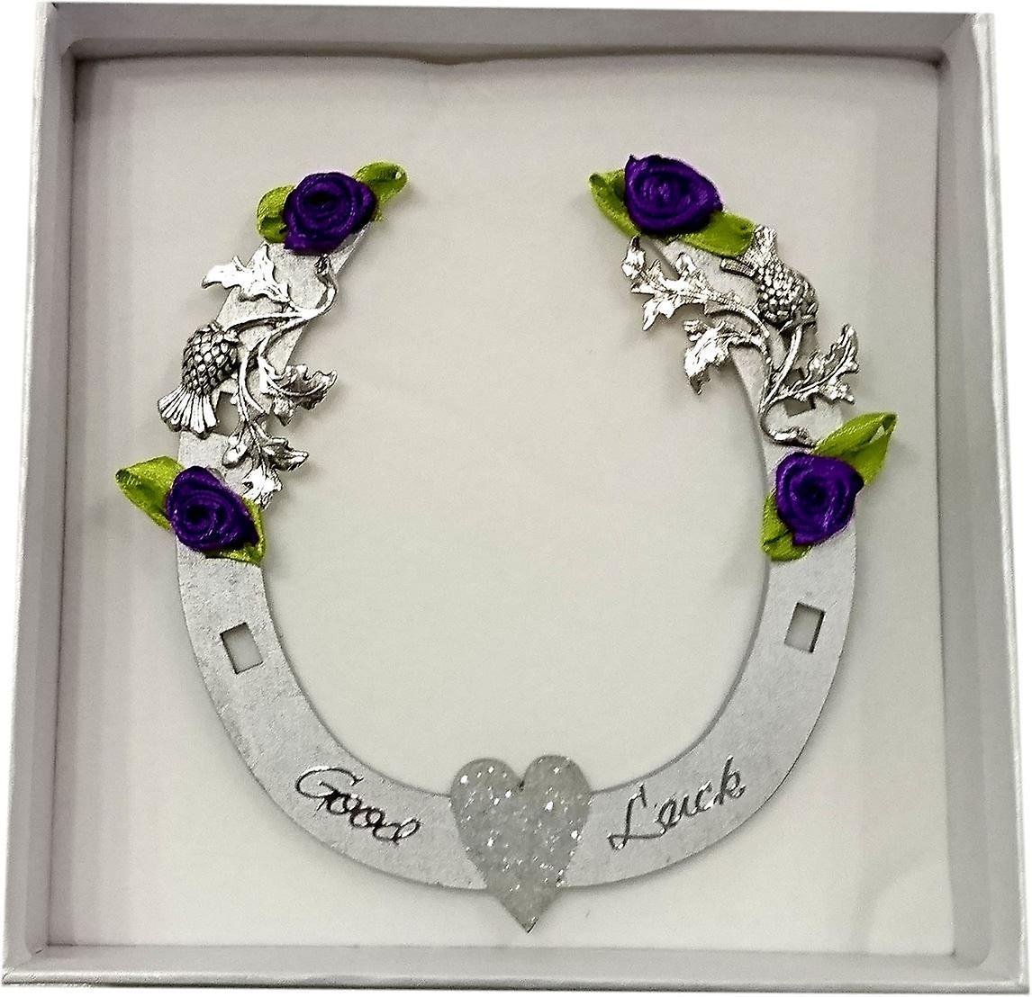 Sweet Pea Designs Good Luck Horseshoe Silver Glitter Heart