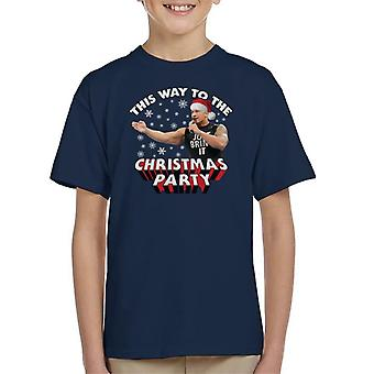 Dwayne The Rock Johnson This Way To The Christmas Party Kid's T-Shirt