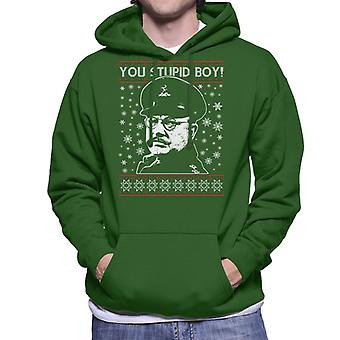 Dads Army Stupid Boy Christmas Knit Pattern Men's Hooded Sweatshirt