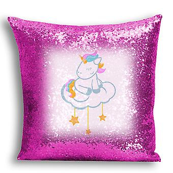 i-Tronixs - Unicorn Printed Design Pink Sequin Cushion / Pillow Cover with Inserted Pillow for Home Decor - 1