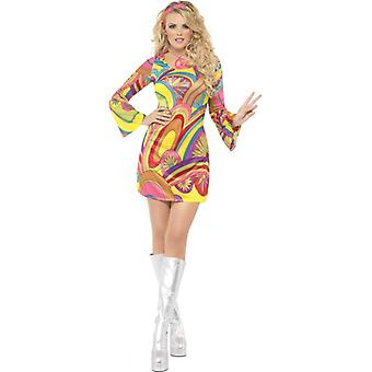 Feber 60-talets Flower Power kostym, UK klänning 12-14