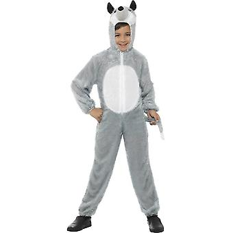 Wolf Costume, Grey, with Hooded Jumpsuit