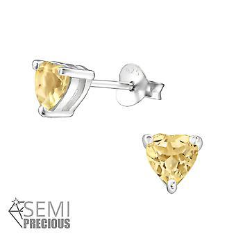 Sydän-925 Sterling hopea Opal ja puolijalokivet korva napit-W24219X