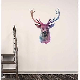 Full Colour Water Colour Stag Wall Sticker