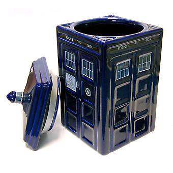 Doctor que color de TARDIS cookie jar cerámica: azul.