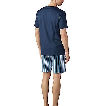 Mey 18770-668 Men's Breiter Streifen Yacht Blue Striped Pyjama Set