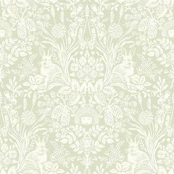 Holden Decor Harlen Wallpaper Trees Flowers Hedgehogs Leaves Rabbits Damask Green/White