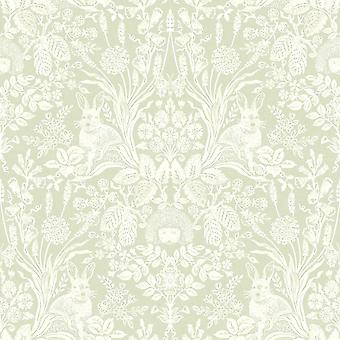 Holden Decor Harlen Wallpaper bomen bloemen egels bladeren konijnen Damask groen/wit