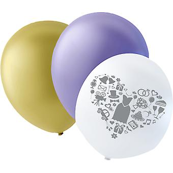Wedding Balloons Purple, Ivory and white with gray print