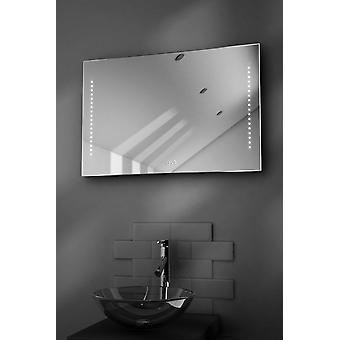 Bella ultraschlanke Badezimmer Spiegel mit Uhr, Demister & Sensor k194