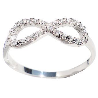Ah! Biżuteria srebro Infinity pierścionek z diamentem symulowane