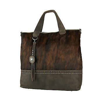 Montana West Delila Brown Hair-On Hide Genuine Leather Shoulder Tote Bag