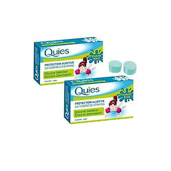 Quies Silicone Natation Swimming Earplugs - Enfant/Kids - 2 Pack