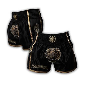 Orgullo o Die desatada Muay Thai Short Black/Gold
