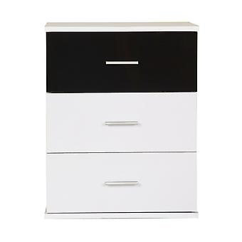 Homcom Bedside Table 3 Drawers Cabinet Bedroom Furniture-Black and White