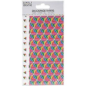Simply Creative Decoupage Paper 18.8cmX35cm 4/Pkg-Bold Geometric