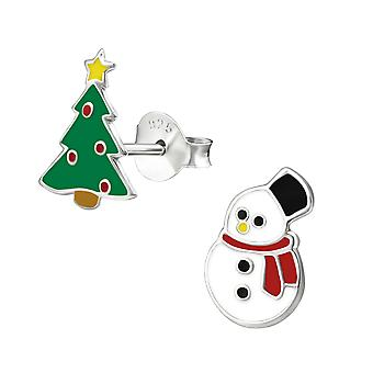 Christmas Tree And Snowman - 925 Sterling Silver Colourful Ear Studs - W33593X