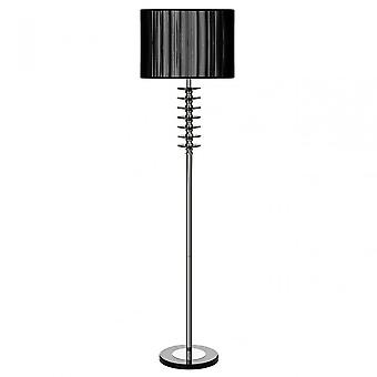 Premier Home Hoop golvlampa, krom, kristall, tyg, svart