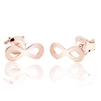 Ah! Jewellery 18K Rose Gold Vermeil Over Sterling Silver Infinity Studs, Stamped 925