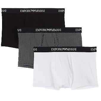 Emporio Armani Coloured Pure Cotton 3-Pack Trunk, Black / Print / White, Small