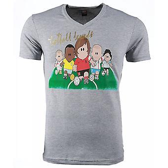 T-shirt-Football Legends Print-Grey