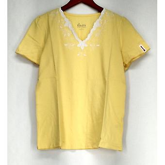 Denim & co. topp V-hals kort ermet m/trim detalj gul A200704