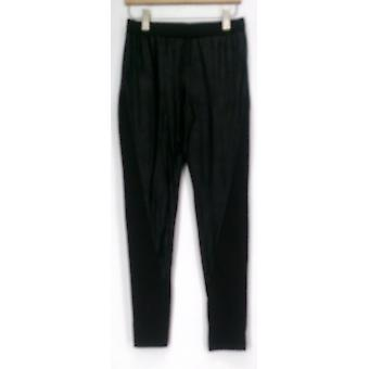 Kate & Mallory Pants Distressed Pull On w/ Knit Panel Sides Black A420645