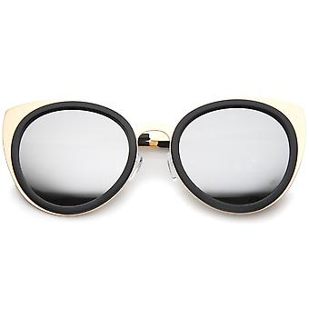 Womens Two-Toned Metal Reinforced Color Mirror Lens Cat Eye Sunglasses 54mm